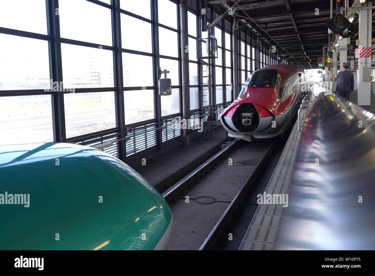 Shinkansen Hayabusa and Komachi combination and separation at JR Morioka Station Stock Photo