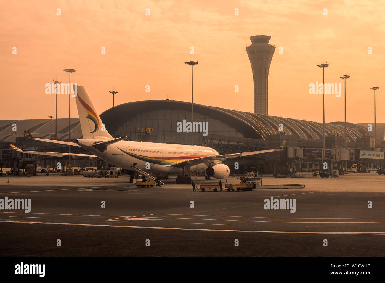 Chengdu, China - Oct 25 2018 : Arrival flight in morning at Chengdu Shuangliu International Airport - Stock Image
