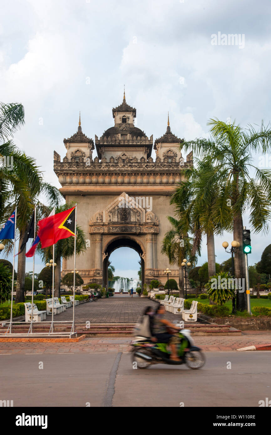 Patuxai or Victory Monument, Vientiane, Laos. It was built with funds donated for an airport post Vietnam War, earning the nickname 'Vertical Runway'. - Stock Image