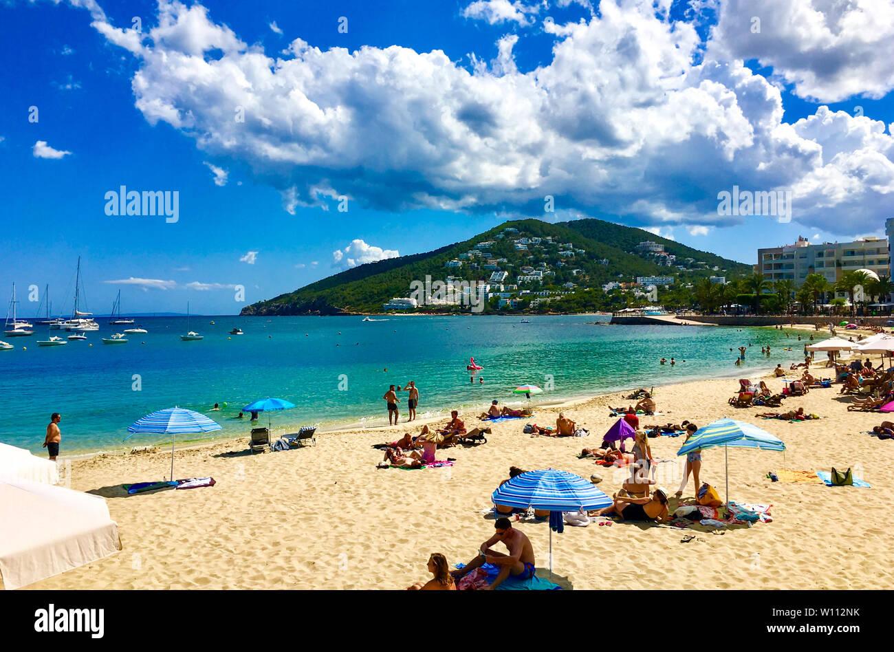 30 June 2017: Santa Eularia, Ibiza, Spain - The beach of