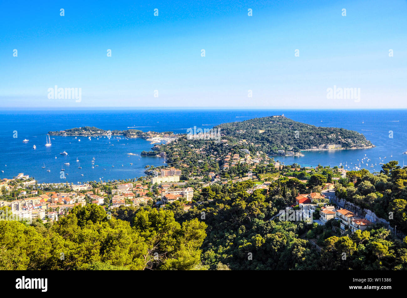 Saint-Jean-Cap-Ferrat nearby Nice, Nizza, Villa Rothschild. Aerial Postcard view. Cote de azur d'azur, french riviera, Provence, France. - Stock Image