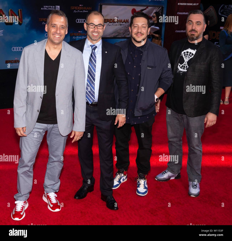 Los Angeles, CA - June 26, 2019: Joseph Gatto, James Murray, Brian Quinn, and Salvatore Vulcano of The Tenderloins attend the premiere of Sony Picture Stock Photo