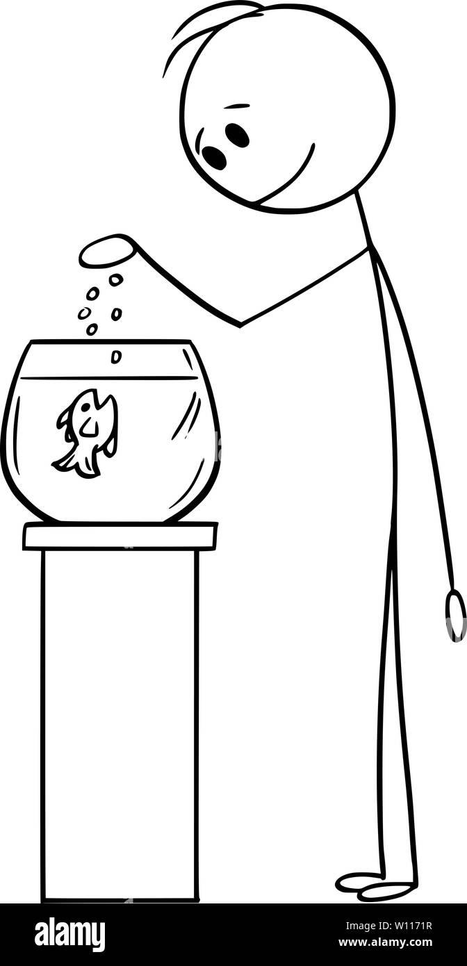 Vector cartoon stick figure drawing conceptual illustration of man feeding fish in spherical fishbowl or aquarium or tank. - Stock Image