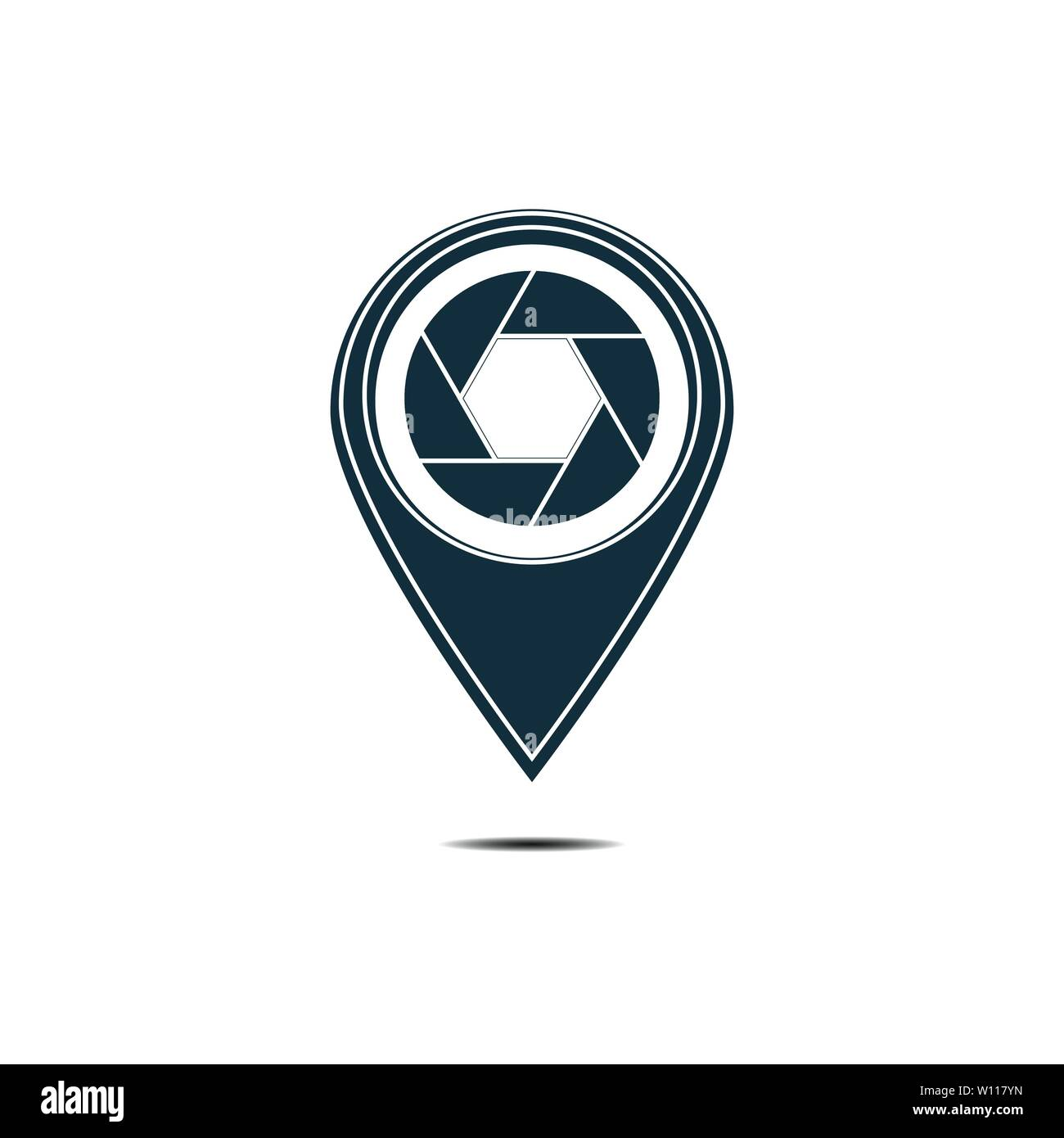 photo locator camera logo template design - Stock Vector