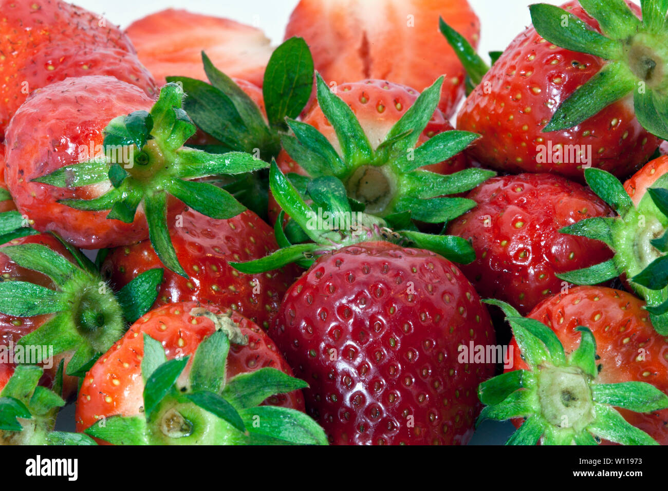 Fruit and coffee in the bowl. foods rich in vitamins - Stock Image