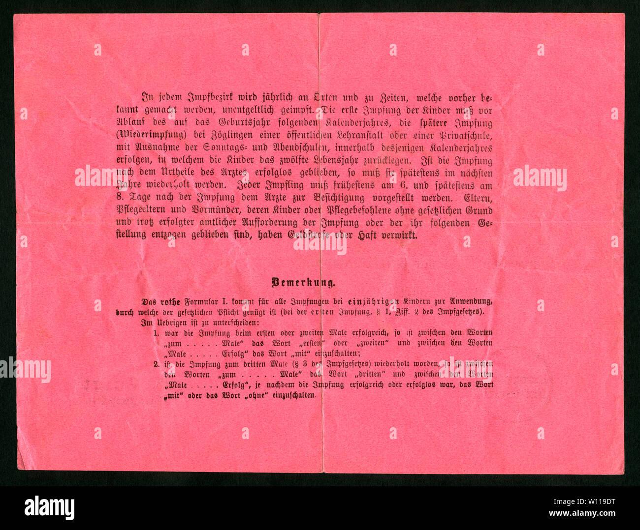 Europa, Deutschland, Hamburg,  roter Impfschein , Rückseite, ausgestellt am 13. 02. 1893, siehe auch Nr. 1006009 . /  Europe, Germany, Hamburg, red ce Stock Photo