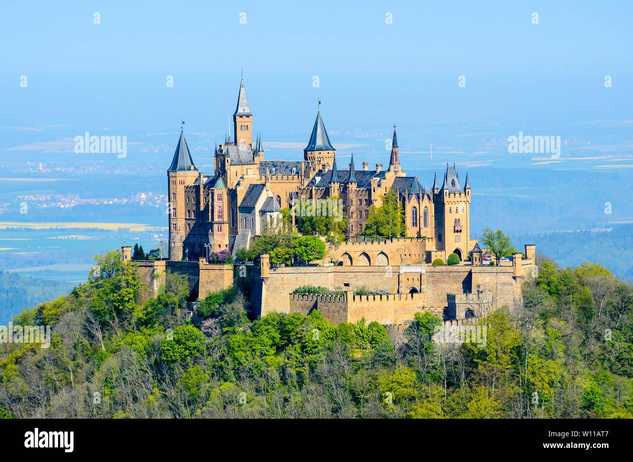 Castle Burg Hohenzollern By Hechingen Near Stuttgart Postcard View Baden Wurttenberg Germany Stock Photo Alamy