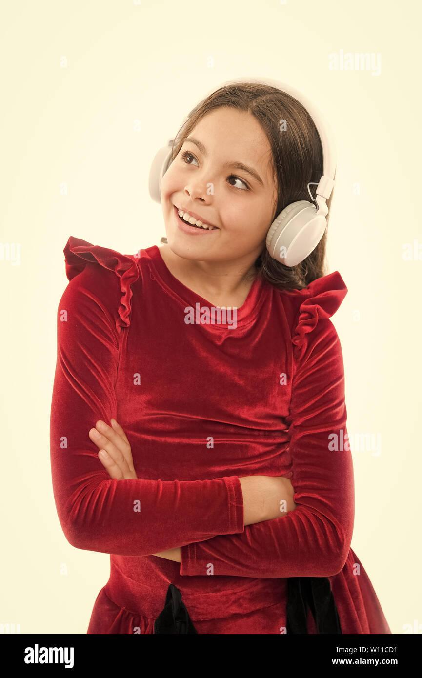 Online music channel  Girl little child use music modern