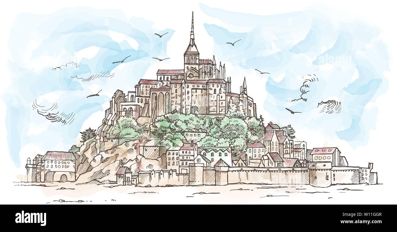 Le Mont Saint Michel ,France. Hand drawn sketch watercolor. illustration in vector - Stock Image