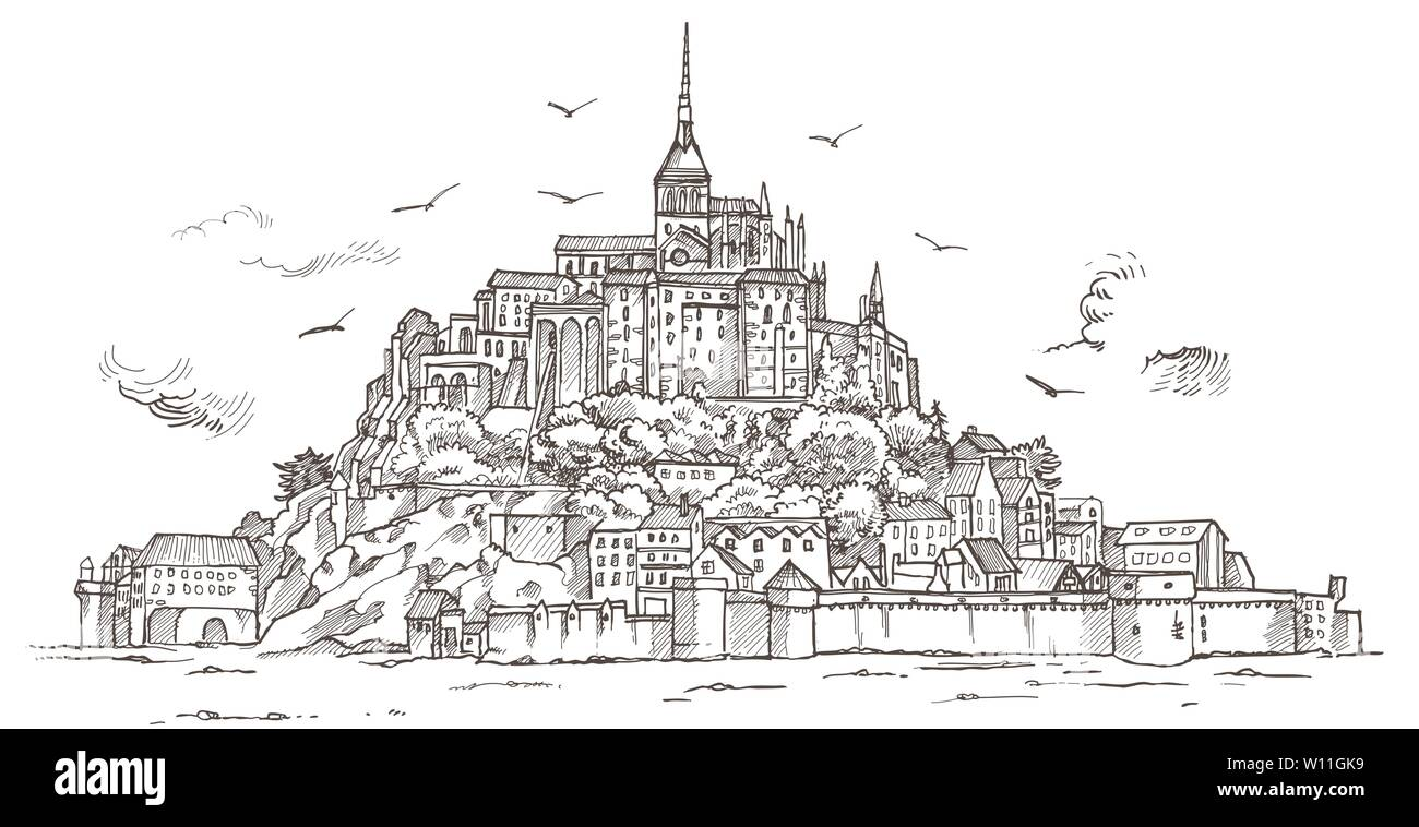 Le Mont Saint Michel ,Normandy, France. Hand drawn sketch illustration in vector - Stock Image