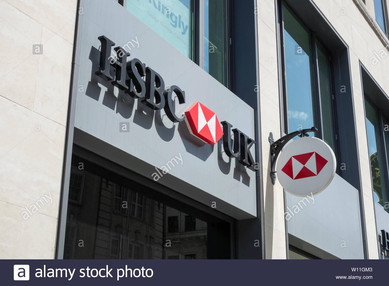 HSBC branch exterior and signage on Fleet Street, London, UK - Stock Image
