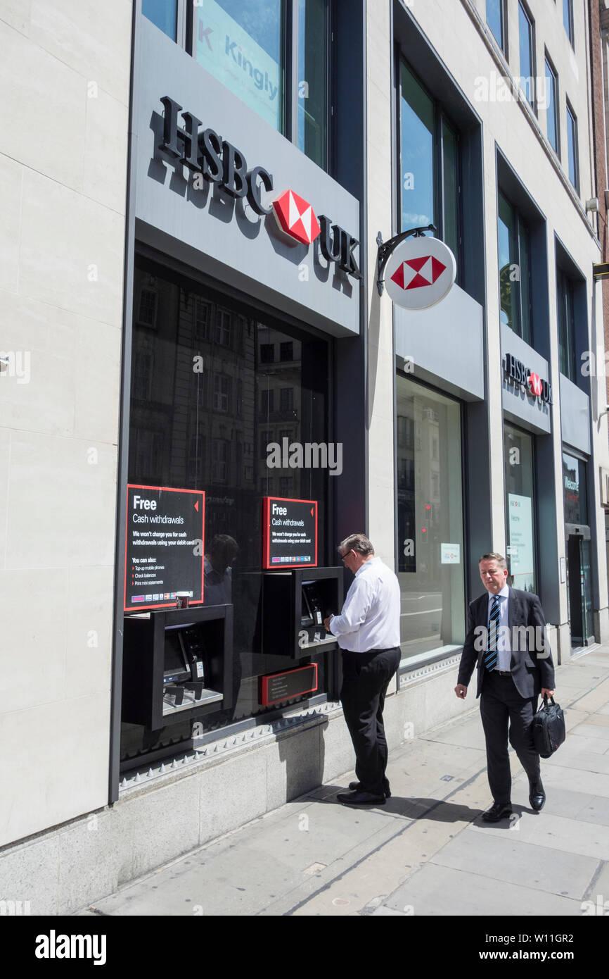 Exterior of HSBC branch on Fleet Street, London, UK - Stock Image