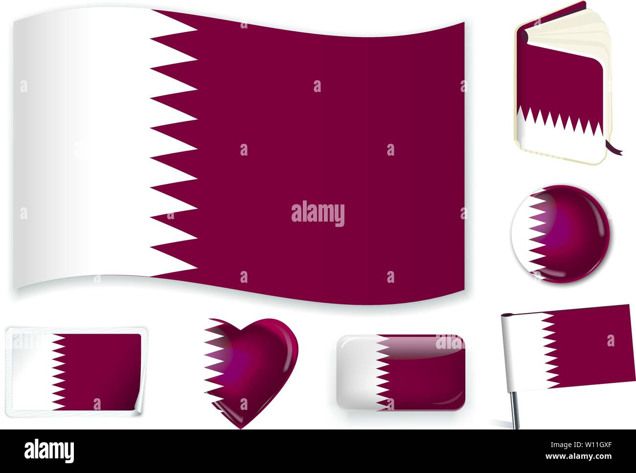 Qatar. Qatari national flag. Vector illustration. 3 layers. Shadows, flat flag, lights and shadows. Collection of 220 world flags. Accurate colors. Easy changes. Stock Vector