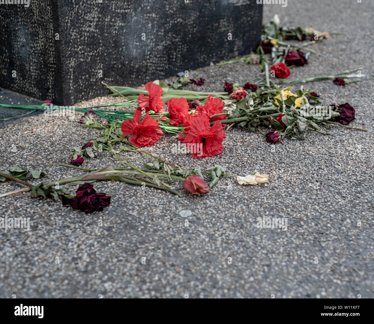 Munich, Bavaria, Germany - May 129, 2019. Eternal flame, Platz der Opfer des Nationalsozialismus, offerings to the victims of National Socialism Memor Stock Photo