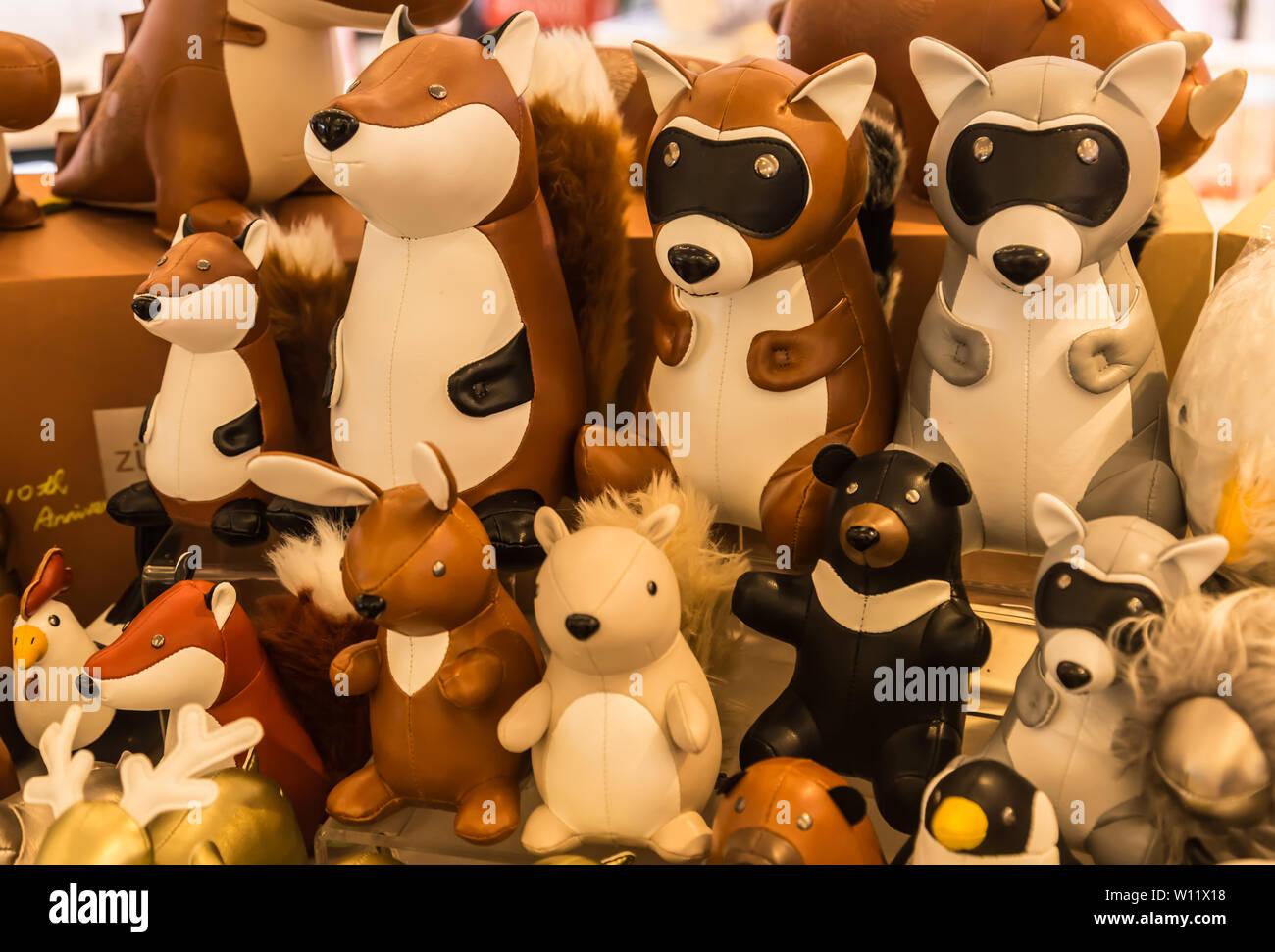 Taiwan,Taipei-05 SEP 2017: the leather animal toy display on shelf on sale - Stock Image