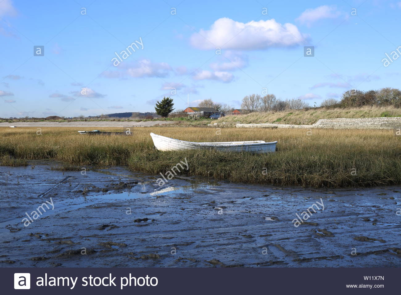 A small white fishing boat moored up on a grassy bank along the Essex coast at low tide. - Stock Image