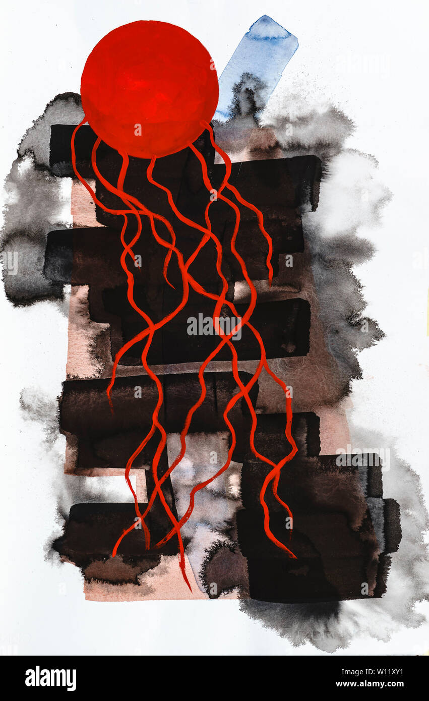 A calligraphic drawing or painting with a red element which evokes a jellyfish; also black bands of indian ink. - Stock Image