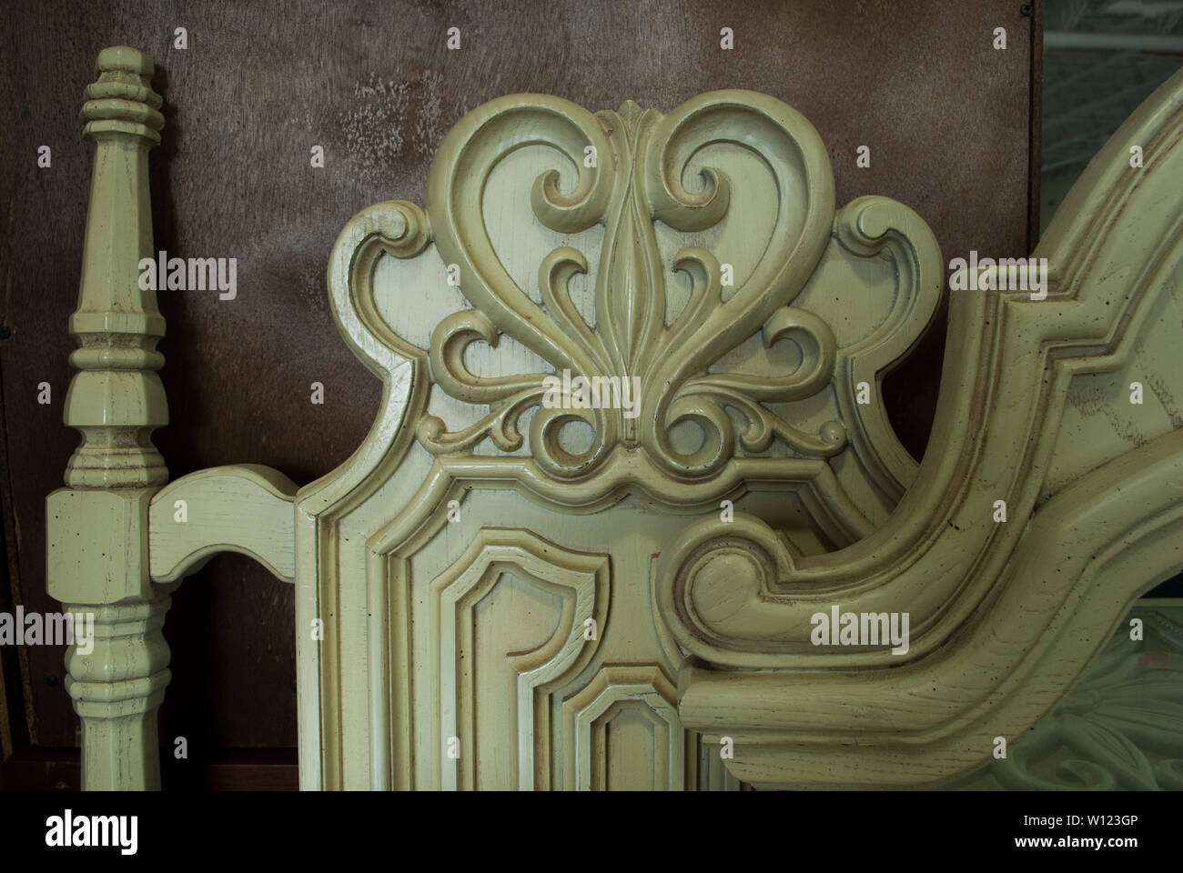 Wooden decorative element handmade. Vintage decorative pattern. Aged ornamental piece of wood - Stock Image
