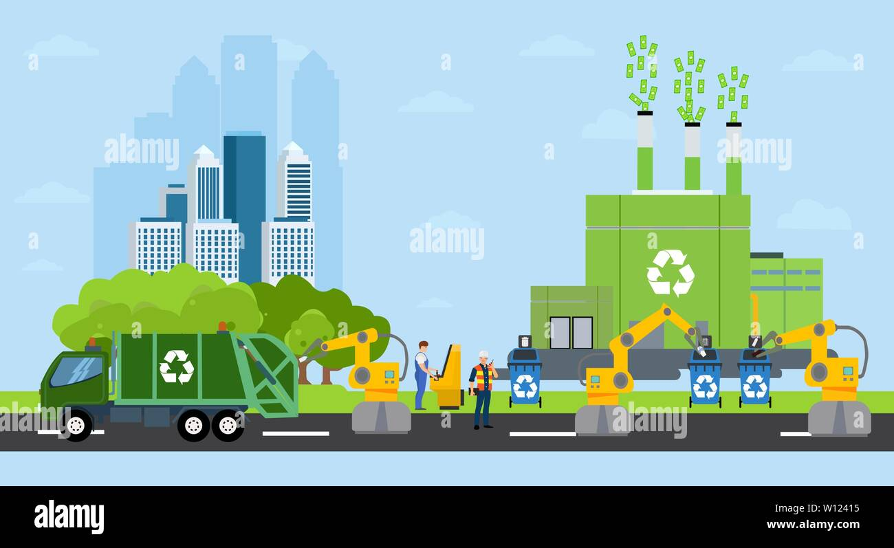 Green city and waste management landscape. Vector of a profitable recycling factory and automated robot sorting process on a background of eco friendl Stock Vector