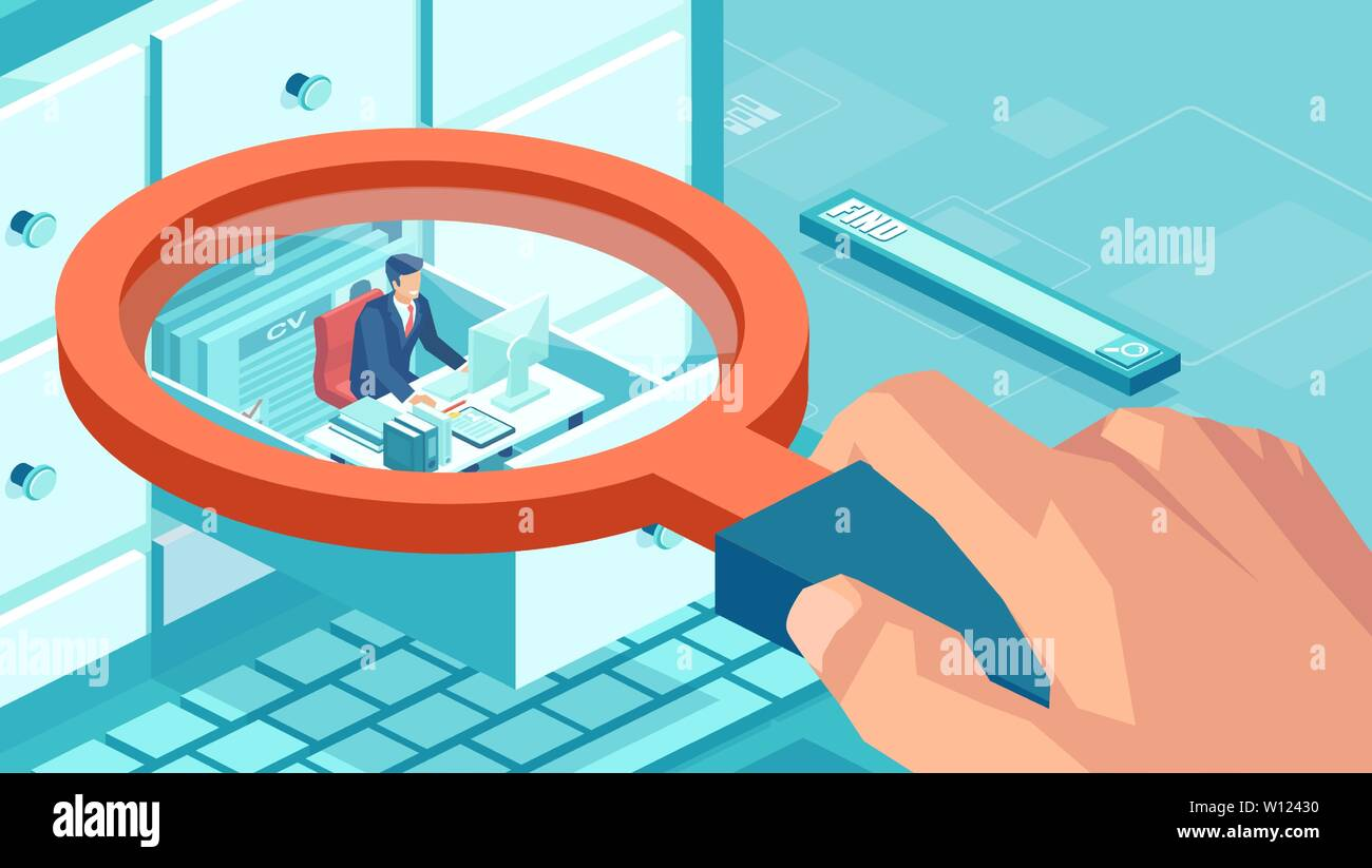 Isometric concept of human resources database and quality control. Vector of a businessman sitting inside closet compartment box being surveyed by a b - Stock Image