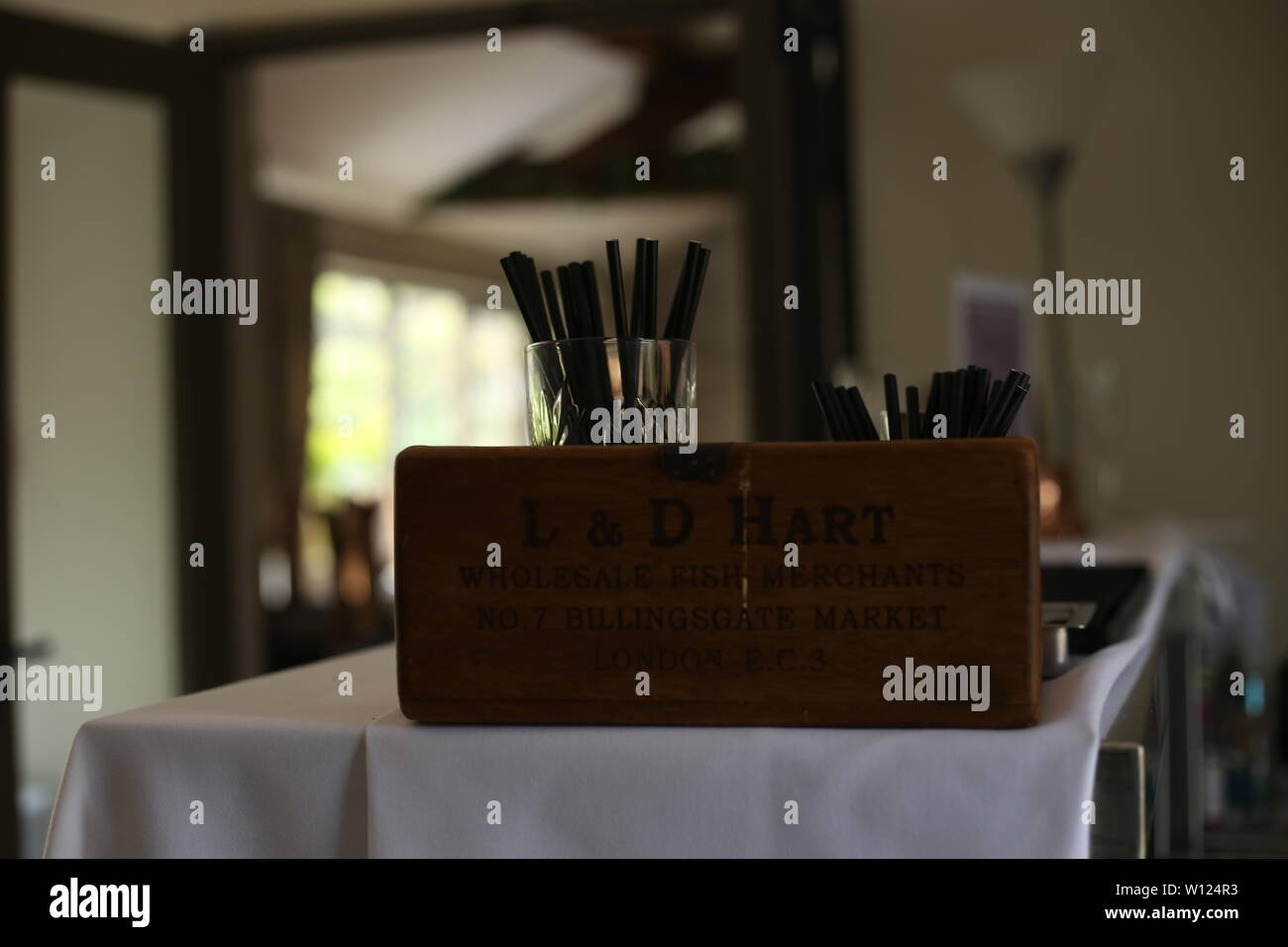 Hotel Industry Business -  A view of rustic chic wooden box at waitress station. - Stock Image