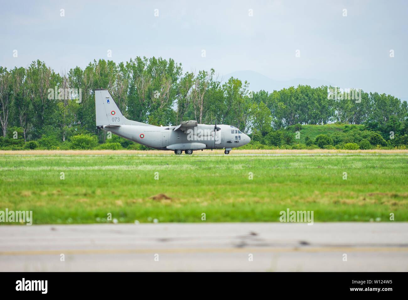 Alenia C-27J Spartan military plane before flight Stock Photo