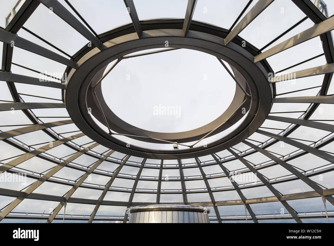 Empty top at the futuristic glass dome at the Reichstag (German parliament) building in Berlin, Germany. It was designed by architect Norman Foster. Stock Photo