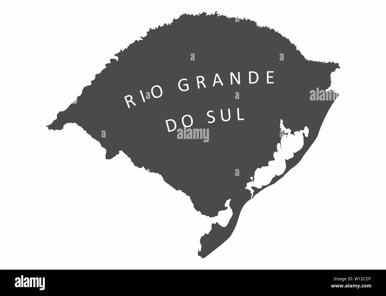 Illustration of the Rio Grande do Sul State silhouette map, Brazil Stock Vector