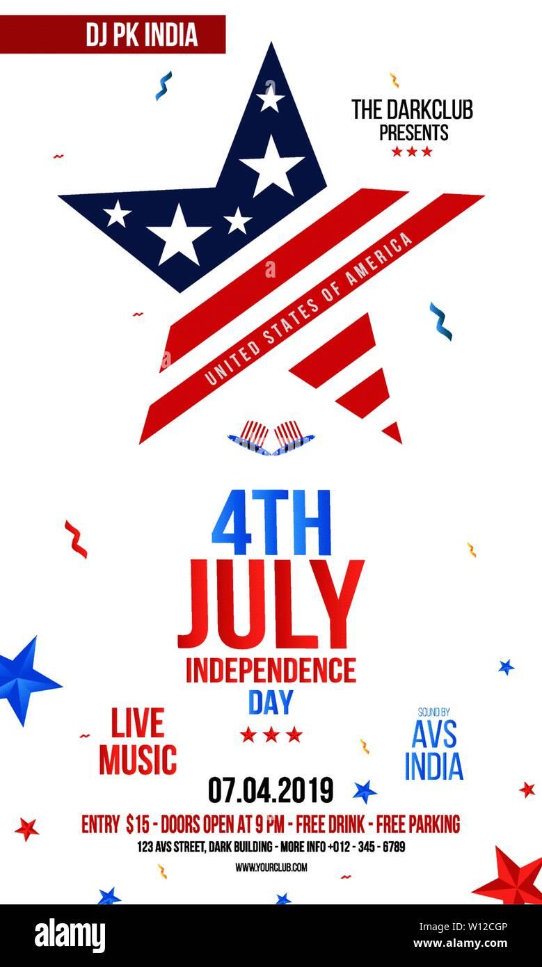 Modern 4th Of July Grunge Flyer Template Creative