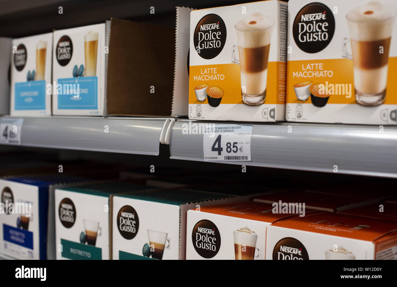 June 6, 2019 - Spain - Swiss capsule machine system by Nestlé brand, Nescafé Dolce Gusto, displayed for sale at the Carrefour supermarket in Spain. (Credit Image: © Budrul Chukrut/SOPA Images via ZUMA Wire) - Stock Image