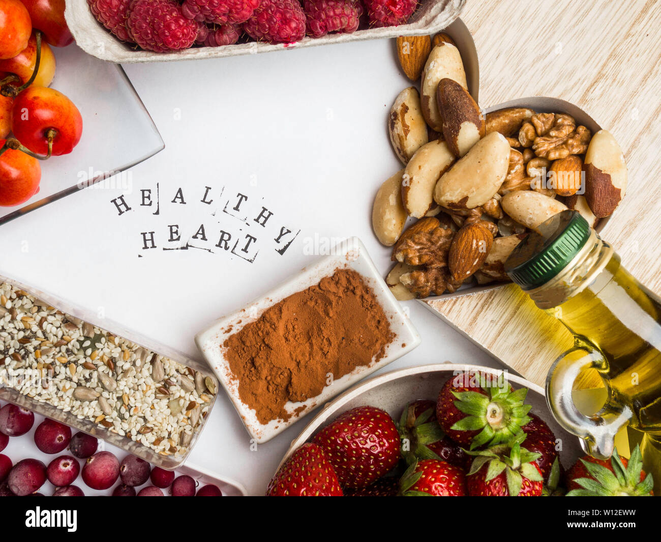 Super food to slow the ageing process concept including High in antioxidants, anthocyanins, dietary fibre & vitamins, healthy food food with inscripti - Stock Image