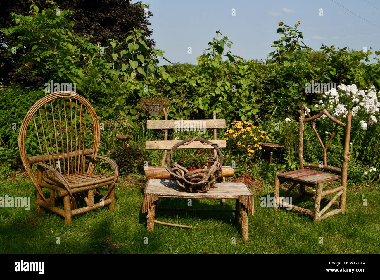 Rustic, wooden hand crafted outdoor furniture chairs and ...