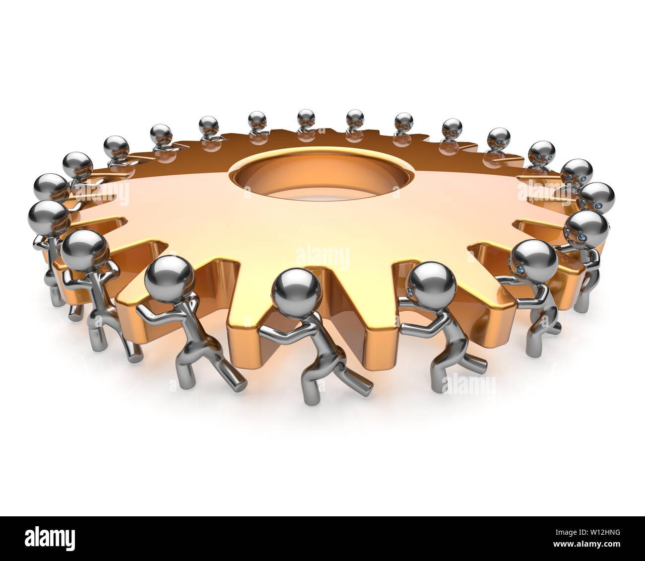 Gearwheel partnership teamwork team work hard job business men turning gear wheel together. Brainstorming cooperation assistance activism community co - Stock Image