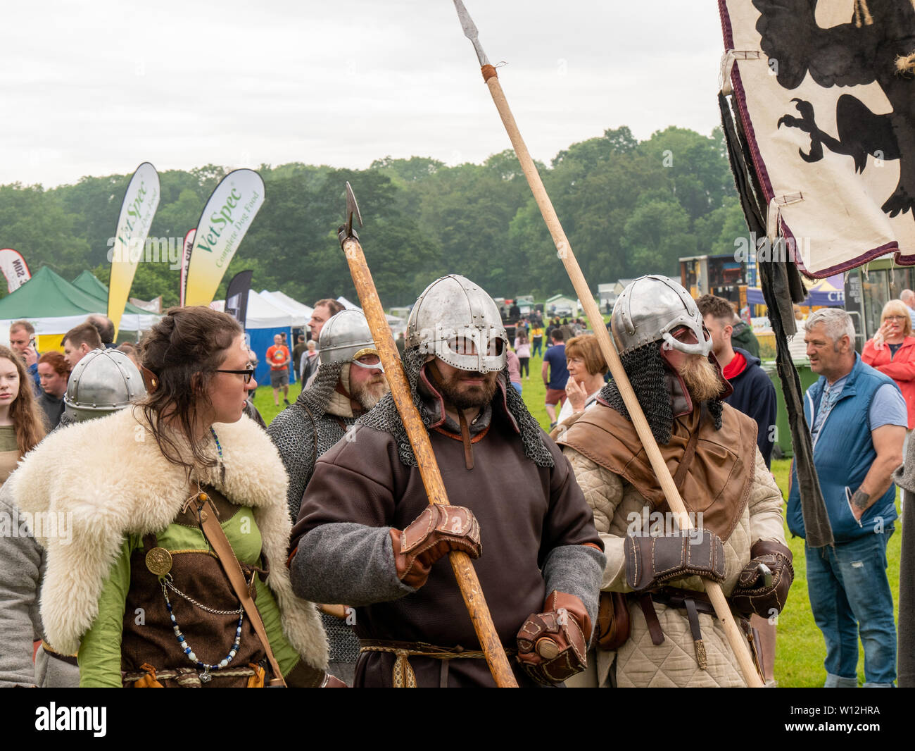 Antrim, Northern Ireland, UK, 29 June 2019: The Irish Game Fair and Fine Food Festival, Shane's Castle. Battle of Antrim re- enactment by Living History Ireland - Stock Image