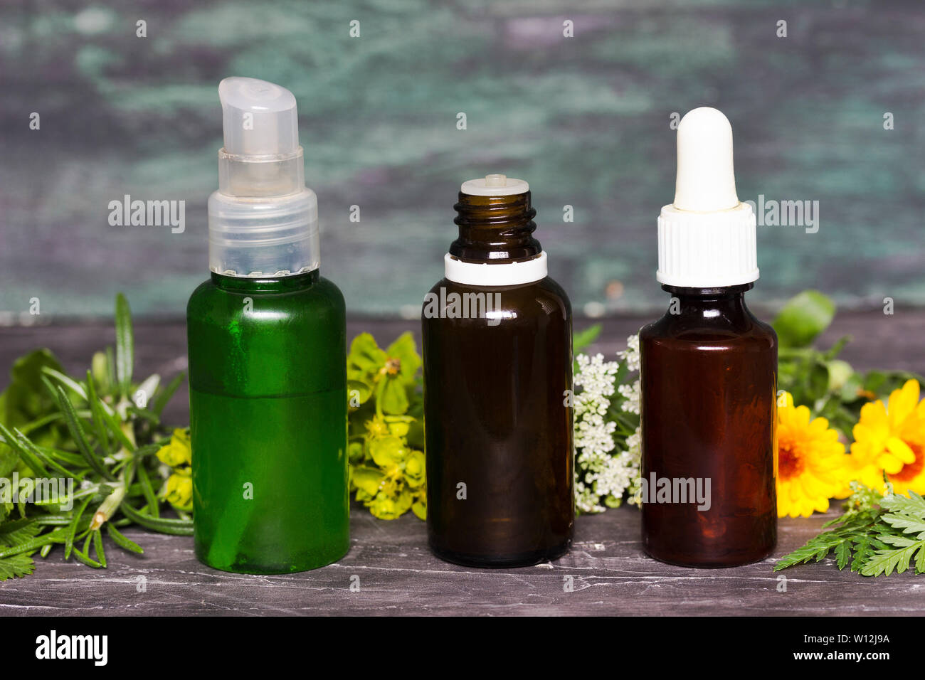 Alternative herbal medicine with medicinal plants essence bottles Stock Photo
