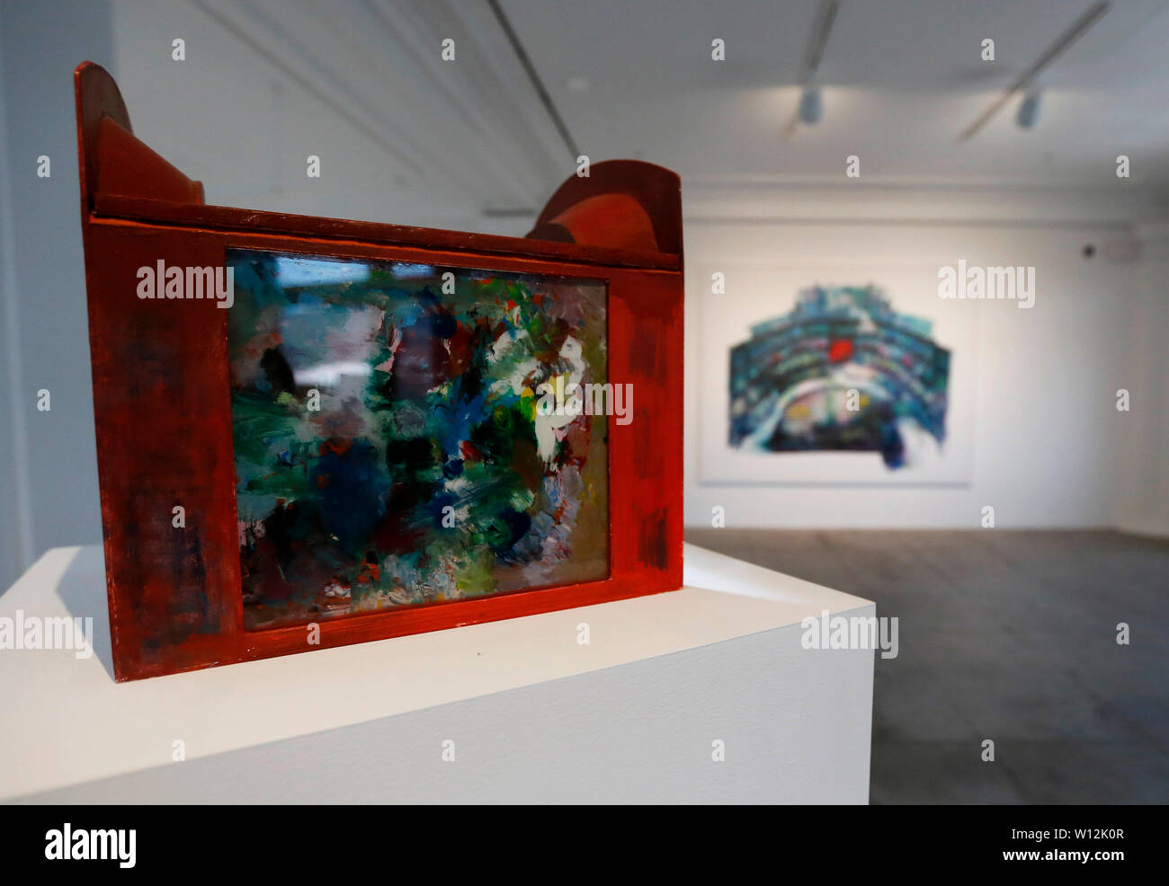 Los Angeles, USA. 28th June, 2019. Works of Argentine artist Guillermo Kuitca are displayed at Hauser & Wirth in Los Angeles, the United States, on June 28, 2019. Evoking the complex geometries and layered information of architectural plans and cartographic maps, Kuitca's theatrical paintings explore themes of dislocation. Credit: Li Ying/Xinhua/Alamy Live News - Stock Image
