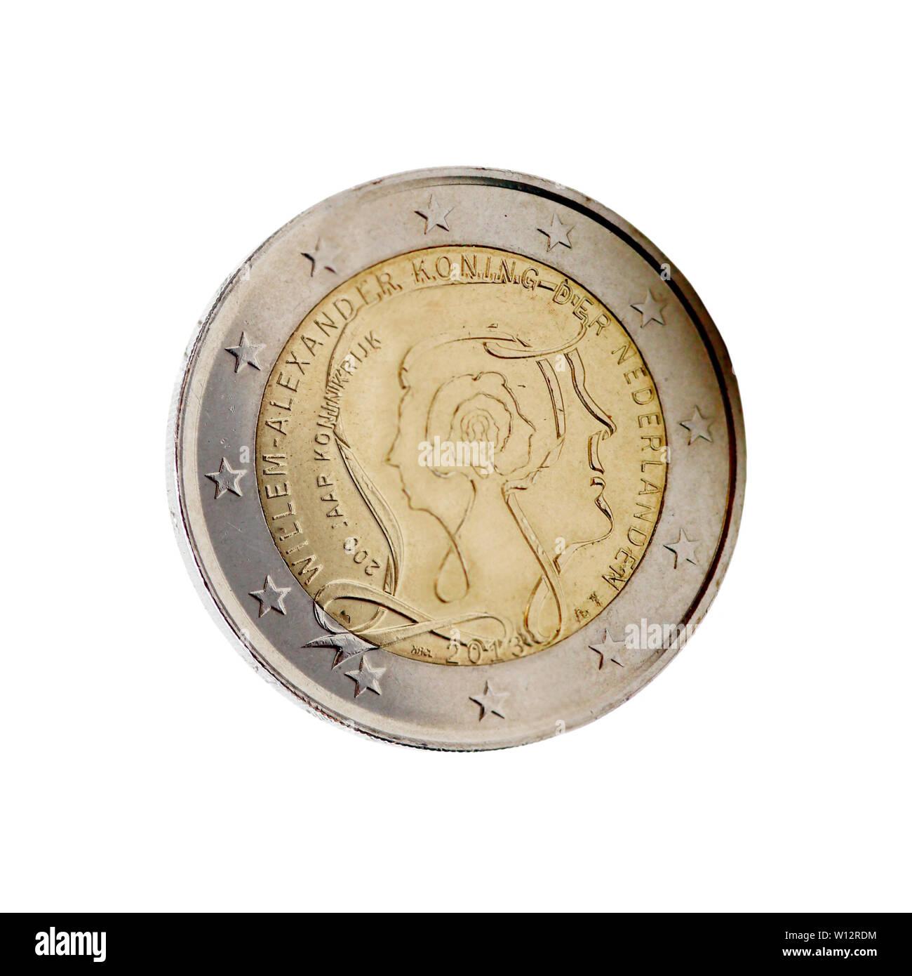 niederländische 2-Euro-Münze mit König Willem-Alexander - Stock Image