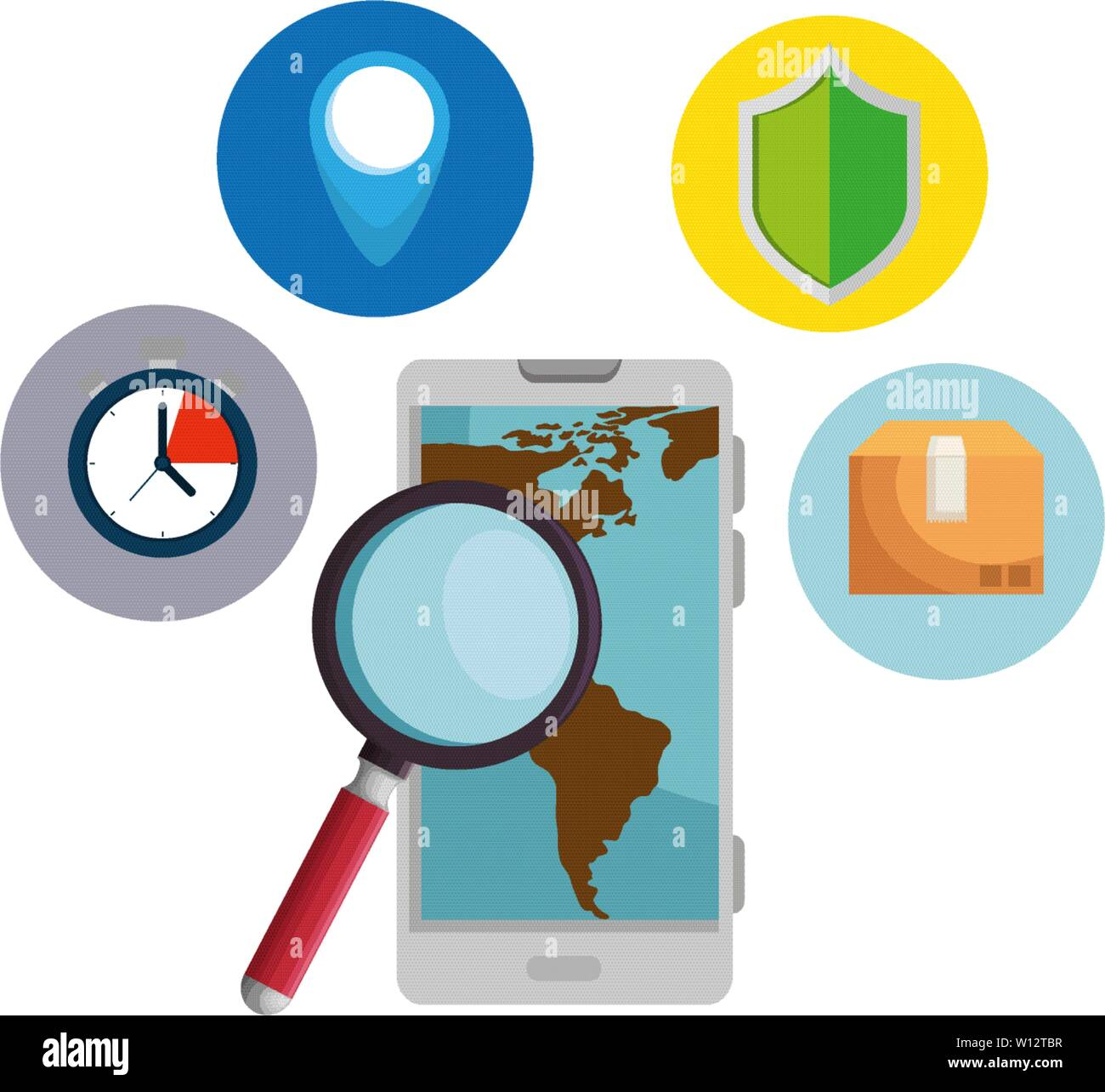 smartphone with magnifying glass and delivery service app - Stock Image