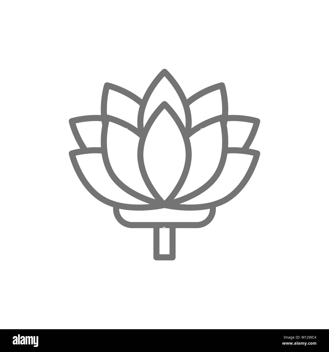 Lotus, indian flower line icon. Isolated on white background - Stock Image
