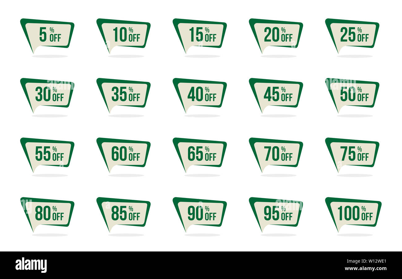 Modern Green Sale and Discount Price Tag Set 5, 10, 15, 20, 25, 30, 35, 40, 45, 50, 55, 60, 65, 70, 75, 80, 85, 90, 95, 100 Percent Off Sale Vector Il - Stock Image