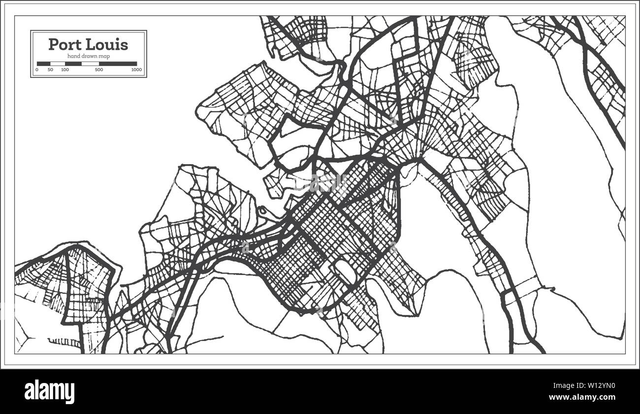 Port Louis Mauritius City Map iin Black and White Color ...