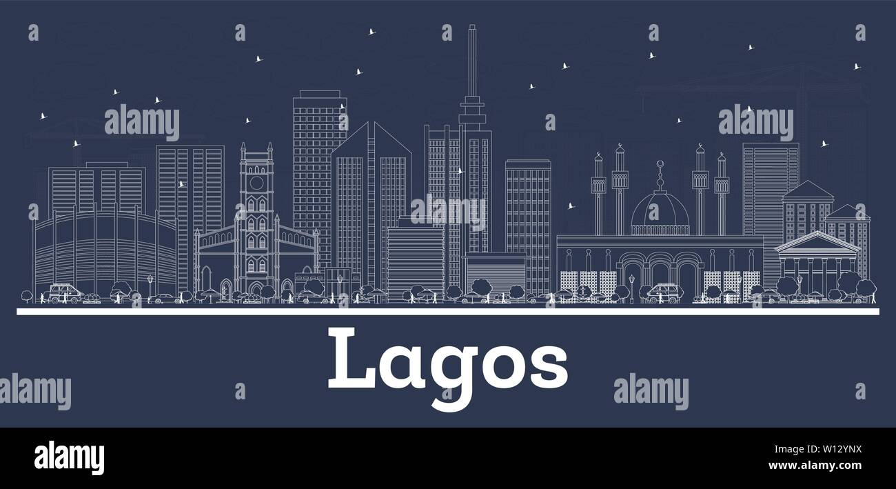 Outline Lagos Nigeria City Skyline with White Buildings. Vector Illustration. Business Travel and Tourism Concept with Historic Architecture. - Stock Image