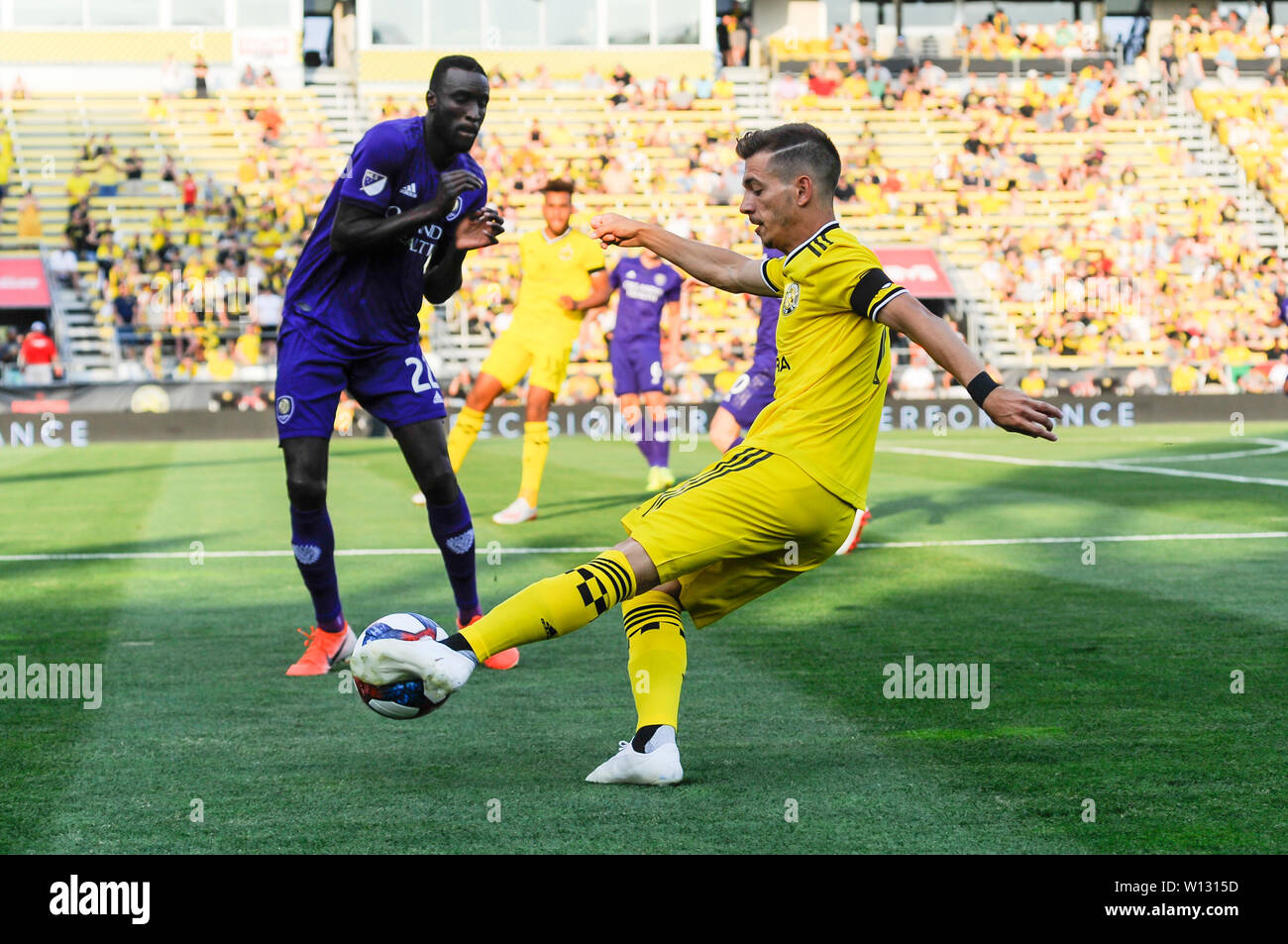 Saturday, June 29, 2019: Columbus Crew SC forward Pedro Santos (7) in the first half of the match between Orlando City and Columbus Crew SC at MAPFRE Stadium, in Columbus OH. Mandatory Photo Credit: Dorn Byg/Cal Sport Media. Orlando City 1 - Columbus Crew SC 0 after the first half - Stock Image