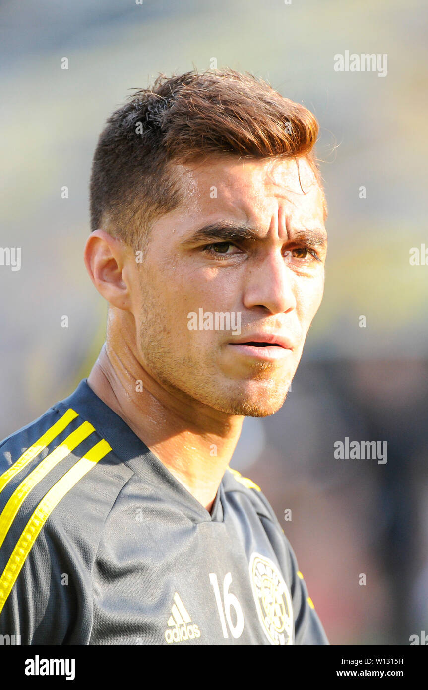 Saturday, June 29, 2019: Columbus Crew SC midfielder Hector Jimenez (16) before the first half of the match between Orlando City and Columbus Crew SC at MAPFRE Stadium, in Columbus OH. Mandatory Photo Credit: Dorn Byg/Cal Sport Media. Orlando City 1 - Columbus Crew SC 0 after the first half - Stock Image