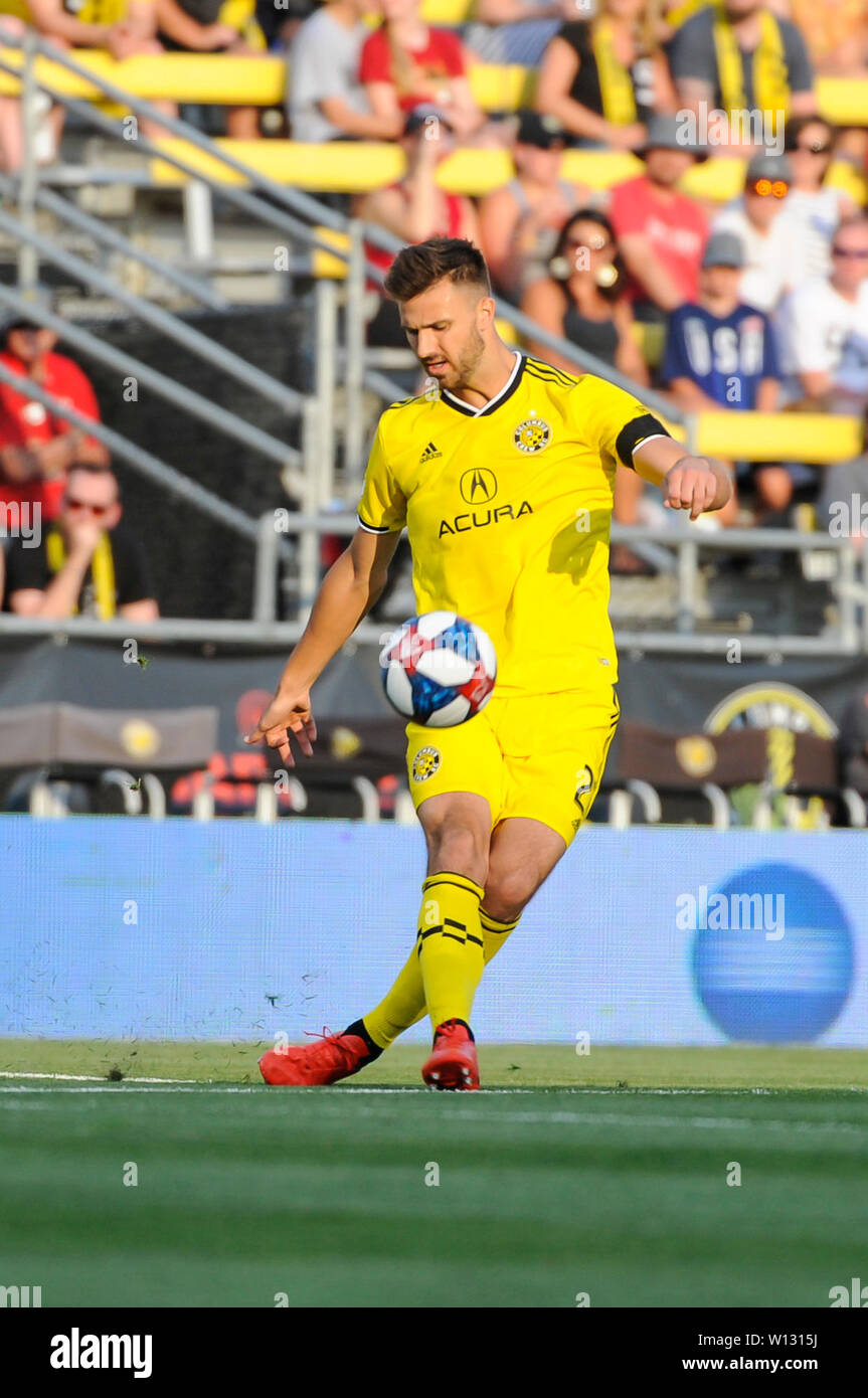 Saturday, June 29, 2019: Columbus Crew SC defender Gaston Sauro (22) in the first half of the match between Orlando City and Columbus Crew SC at MAPFRE Stadium, in Columbus OH. Mandatory Photo Credit: Dorn Byg/Cal Sport Media. Orlando City 1 - Columbus Crew SC 0 after the first half - Stock Image