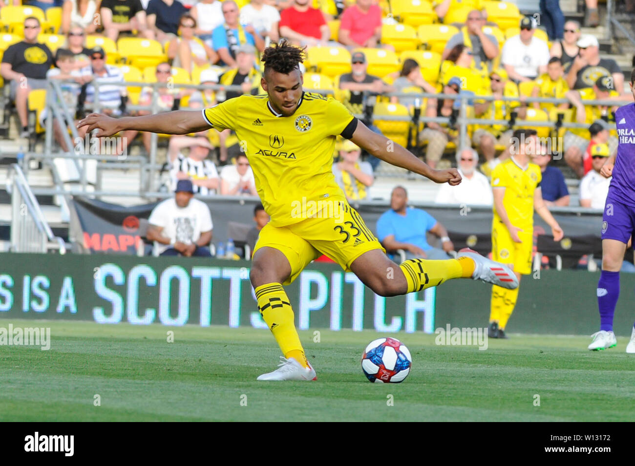 """Saturday, June 29, 2019: ''"""" the first half of the match between Orlando City and Columbus Crew SC at MAPFRE Stadium, in Columbus OH. Mandatory Photo Credit: Dorn Byg/Cal Sport Media. Orlando City 1 - Columbus Crew SC 0 after the first half - Stock Image"""