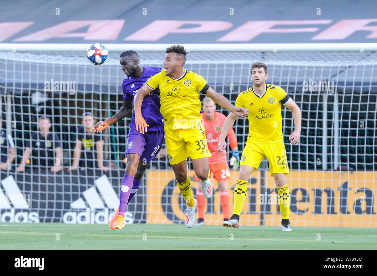 Saturday, June 29, 2019: Orlando City defender Lamine Sane (22) and Columbus Crew SC forward JJ Williams (33) battle for the ball in the first half of the match between Orlando City and Columbus Crew SC at MAPFRE Stadium, in Columbus OH. Mandatory Photo Credit: Dorn Byg/Cal Sport Media. Orlando City 1 - Columbus Crew SC 0 after the first half Stock Photo