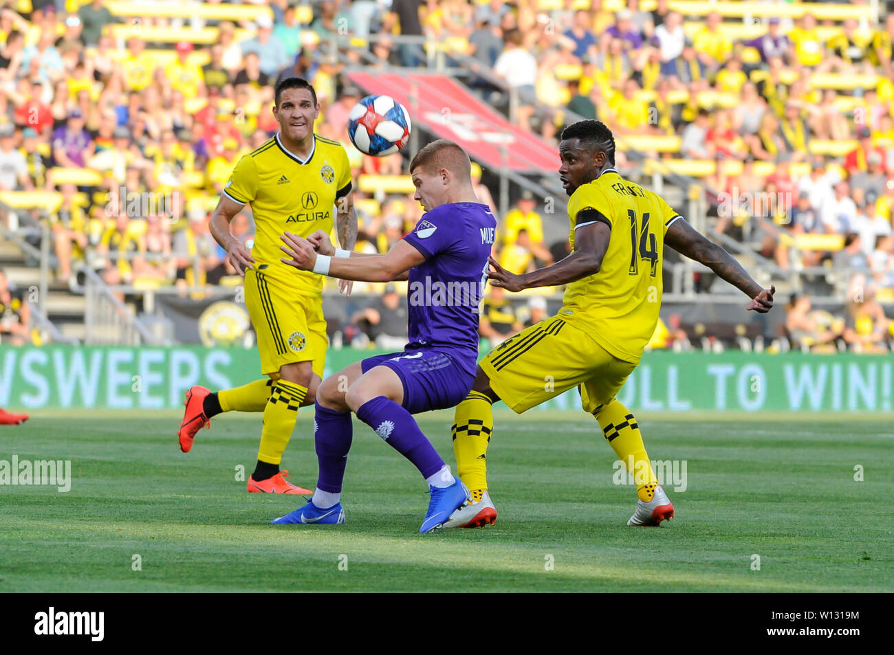 Saturday, June 29, 2019: Orlando City forward Chris Mueller (9) and Columbus Crew SC defender Waylon Francis (14) in the first half of the match between Orlando City and Columbus Crew SC at MAPFRE Stadium, in Columbus OH. Mandatory Photo Credit: Dorn Byg/Cal Sport Media. Orlando City 1 - Columbus Crew SC 0 after the first half - Stock Image