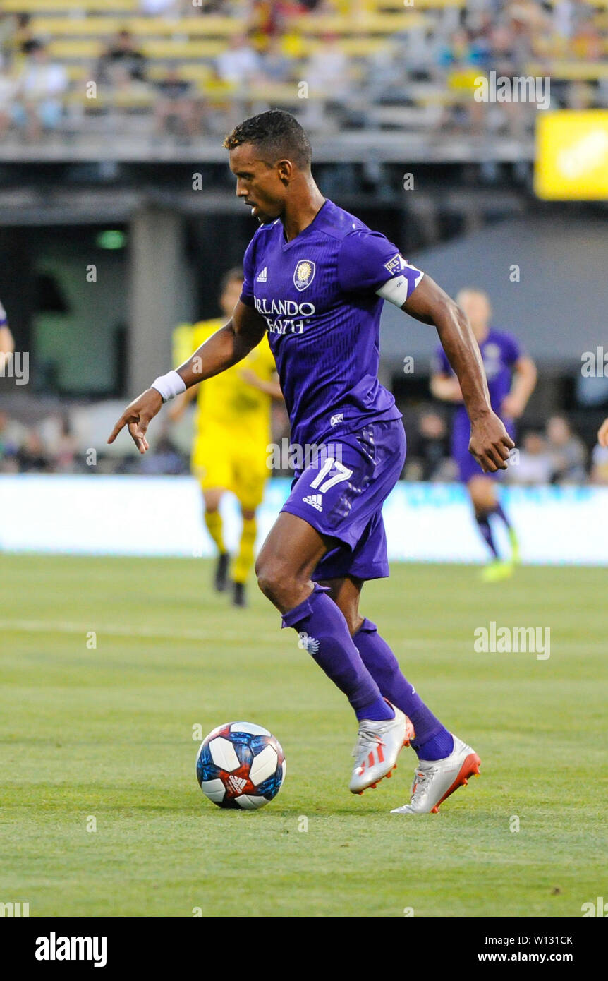 Saturday, June 29, 2019: Orlando City forward Nani (17) in the first half of the match between Orlando City and Columbus Crew SC at MAPFRE Stadium, in Columbus OH. Mandatory Photo Credit: Dorn Byg/Cal Sport Media. Orlando City 2 - Columbus Crew SC 0 at the end of the match - Stock Image
