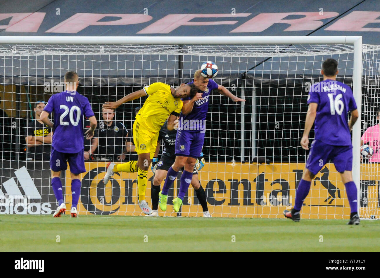 Saturday, June 29, 2019: Columbus Crew SC forward JJ Williams (33) and Orlando City defender Robin Jansson (6) bump heads in the first half of the match between Orlando City and Columbus Crew SC at MAPFRE Stadium, in Columbus OH. Mandatory Photo Credit: Dorn Byg/Cal Sport Media. Orlando City 2 - Columbus Crew SC 0 at the end of the match - Stock Image